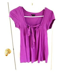 Theory purple tie front tee